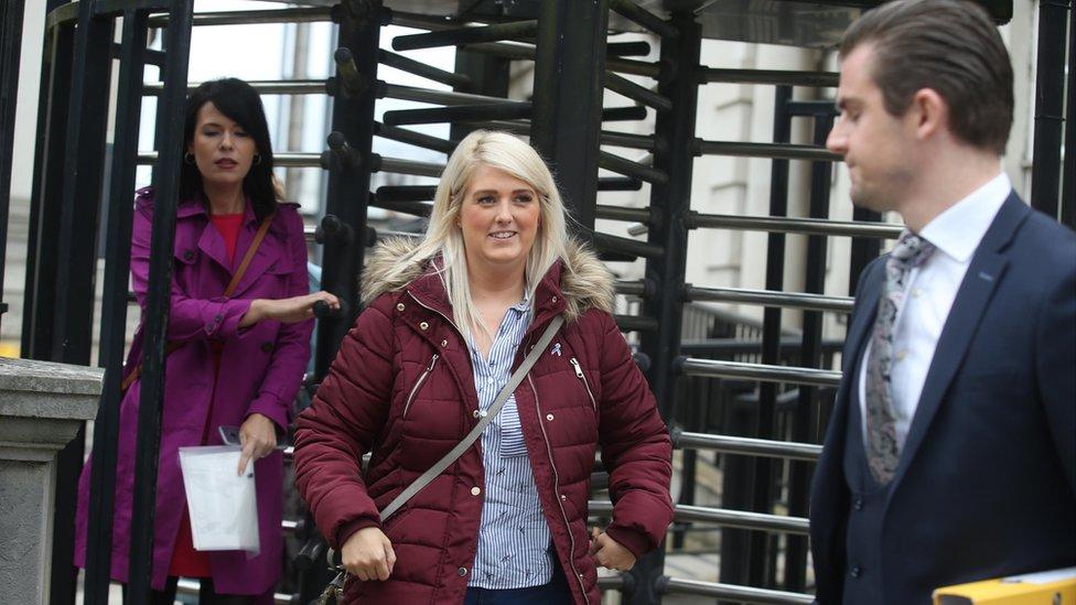 Sarah Ewart leaving the High Court on Thursday