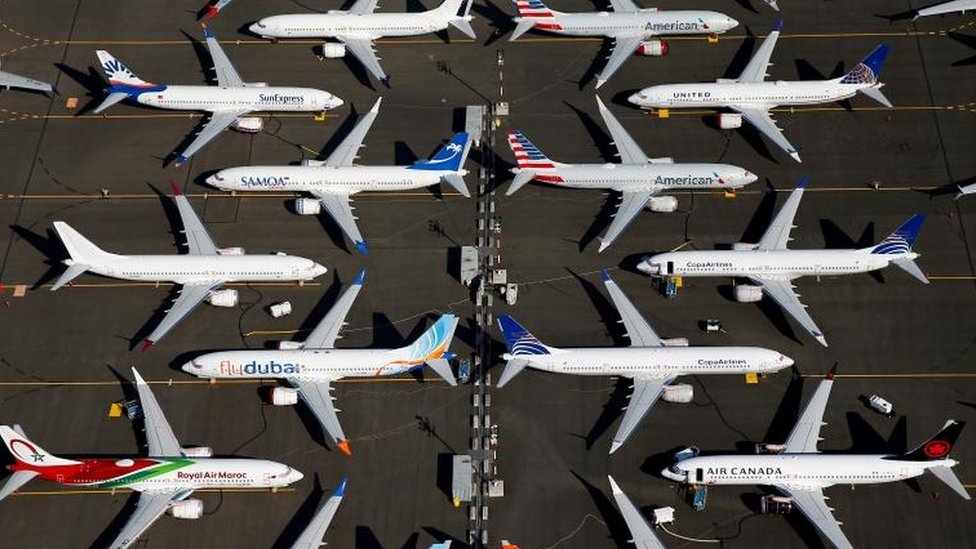 Grounded Boeing 737 Max planes