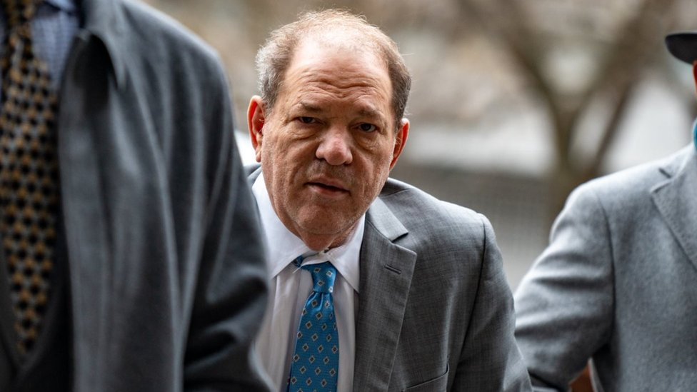 Harvey Weinstein arriving at court on 18 February