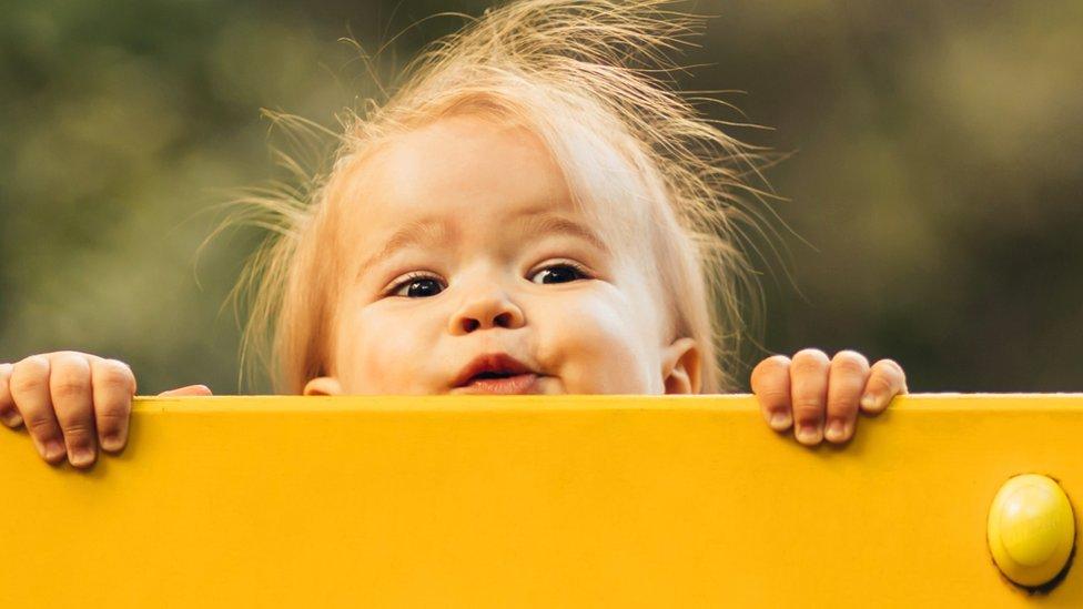 niña asomándose detrás de una tabla.