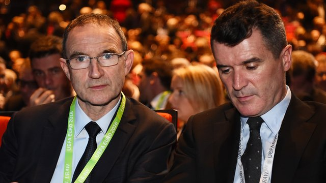 Republic of Ireland manager Martin O'Neill and assistant coach Roy Keane at the Euro 2016 draw