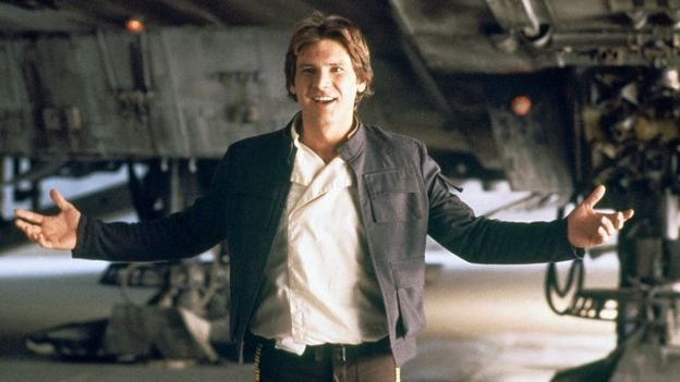Harrison Ford mengenakan jaket di The Empire Strikes Back.