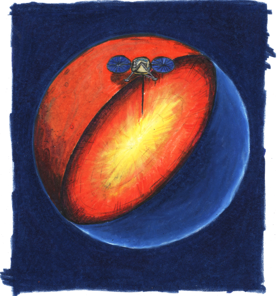 Illustration showing a heat probe burrowing beneath the surface of Mars, with heat radiating out from the interior of the planet in red and yellow