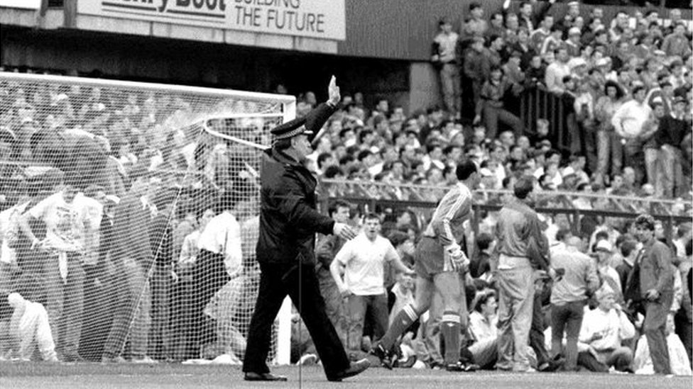 Supt Roger Greenwood on the pitch at Hillsborough disaster