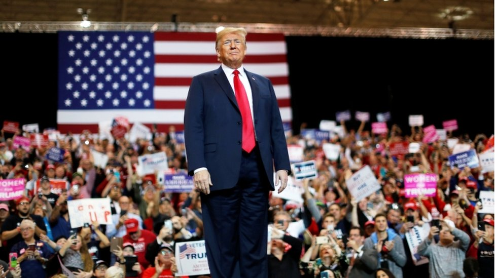 U.S. President Donald Trump is applauded during a campaign rally in Cleveland, Ohio