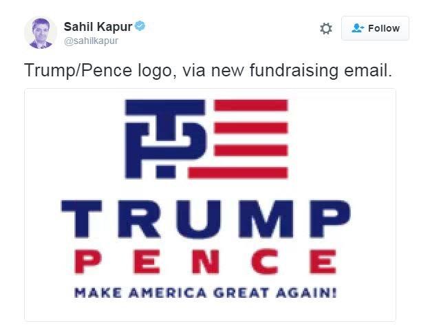 Sahil Kapur tweets: Trump/Pence logo, via new fundraising email