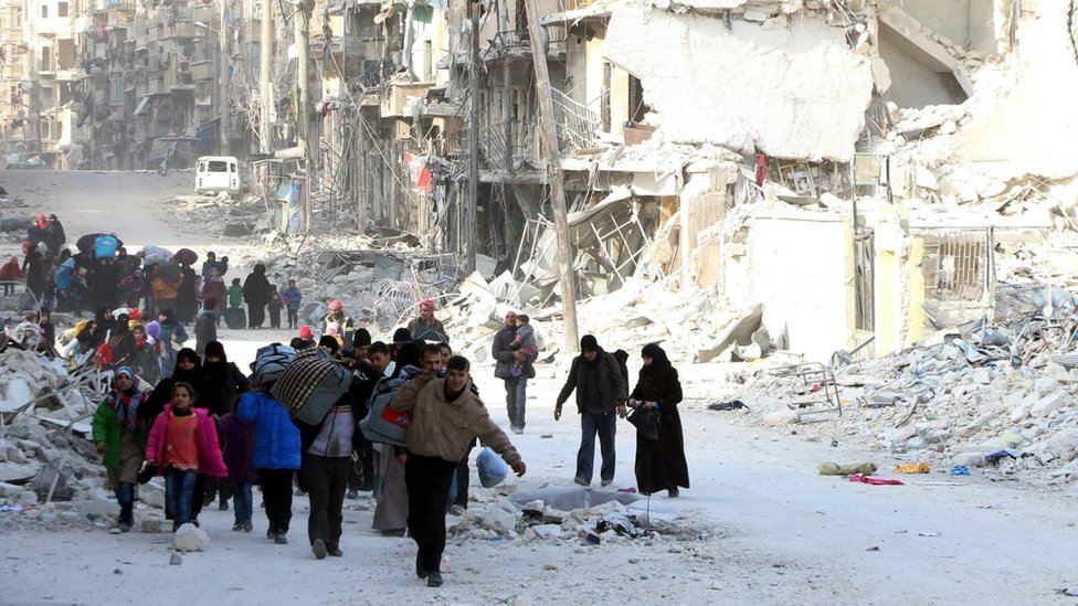 Photograph from pro-opposition Aleppo Media Centre Displaced civilians walk past damaged buildings in Aleppo, Syria (29 November 2016)