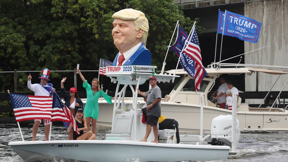 Boaters show their support for President Donald Trump during a parade down the Intracoastal Waterway on October 3, 2020 in Fort Lauderdale, Florida.