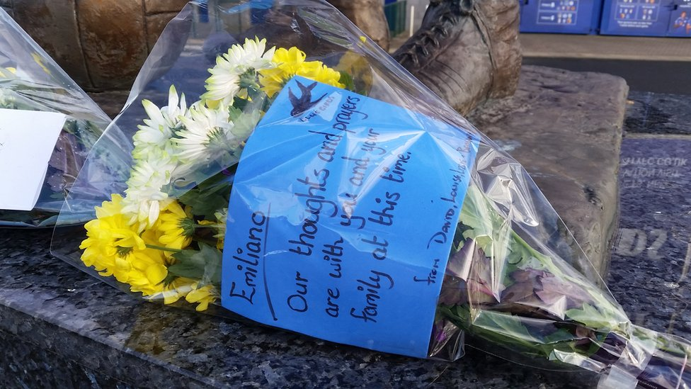 Flowers have been left outside the Cardiff City Stadium