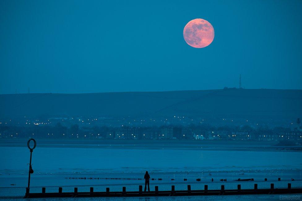 Gavin Dougan took this photo of Friday's pink moon rising from Portobello beach in Edinburgh.