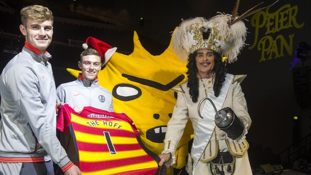 Partick Thistle players with David Hasselhoff