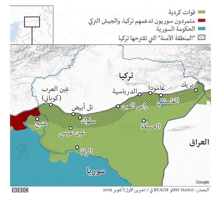 خريطة للمناطق الآمنة المقترحة