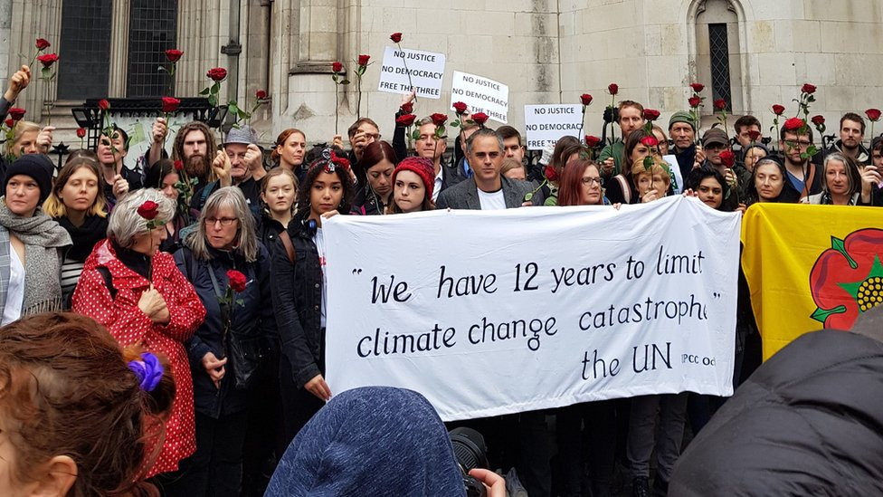 Anti-fracking protesters outside the Court of Appeal