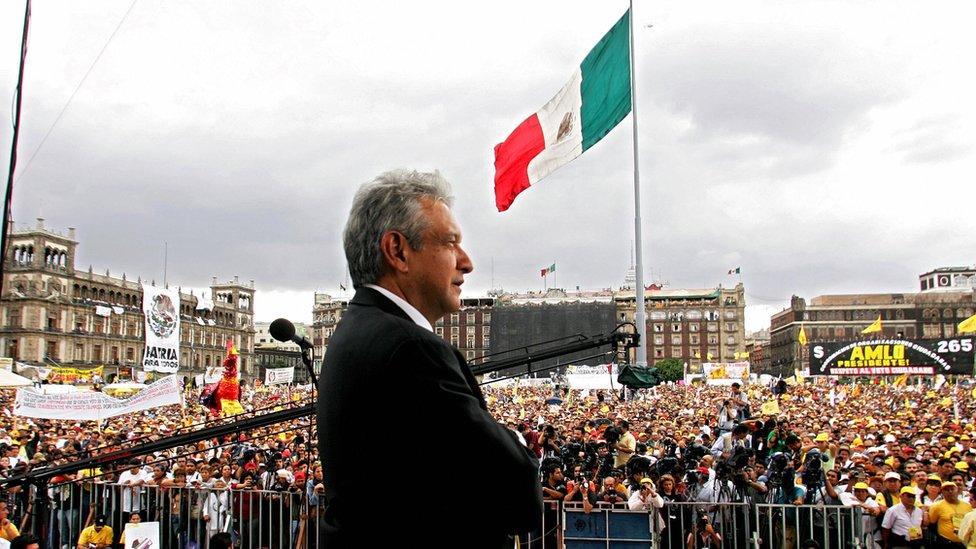 López Obrador en el Zócalo
