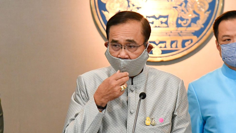 Thai PM Prayuth Chan-ocha wearing a cloth mask