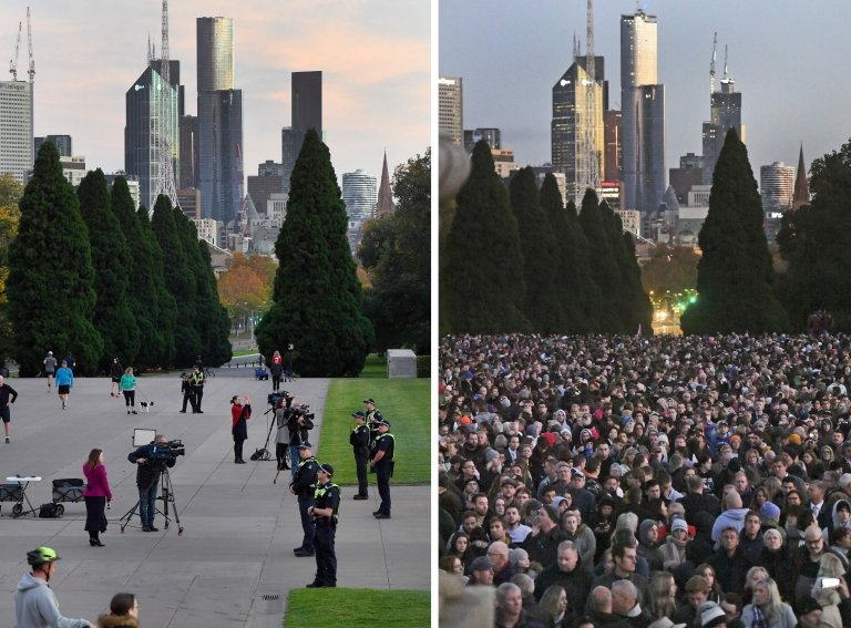 Two photos comparing the crowds in 2019 to the almost empty Shrine of Remembrance in Melbourne
