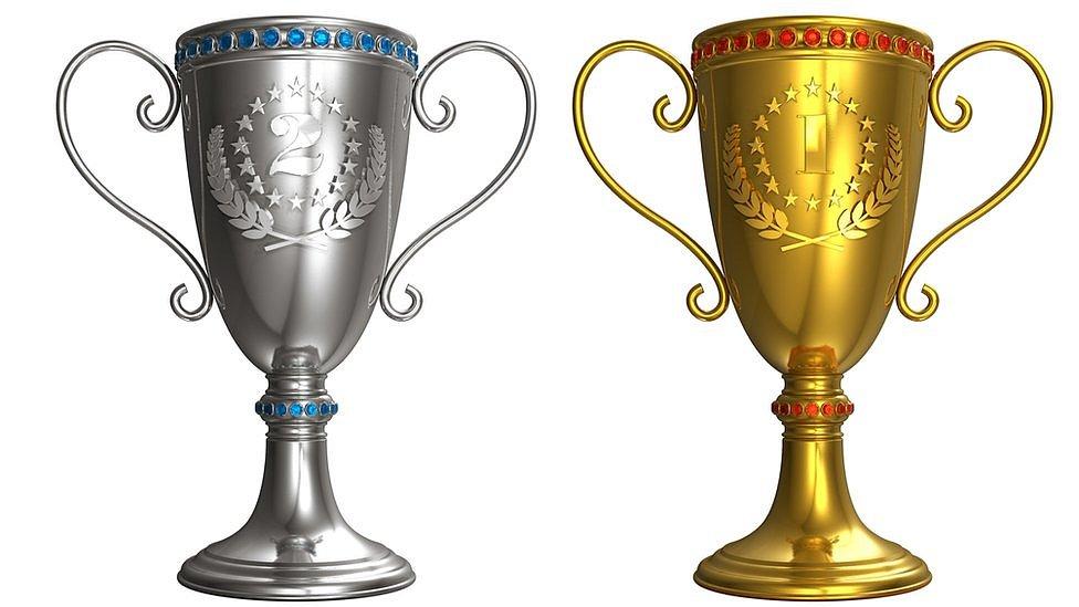 Copas de oro y plata