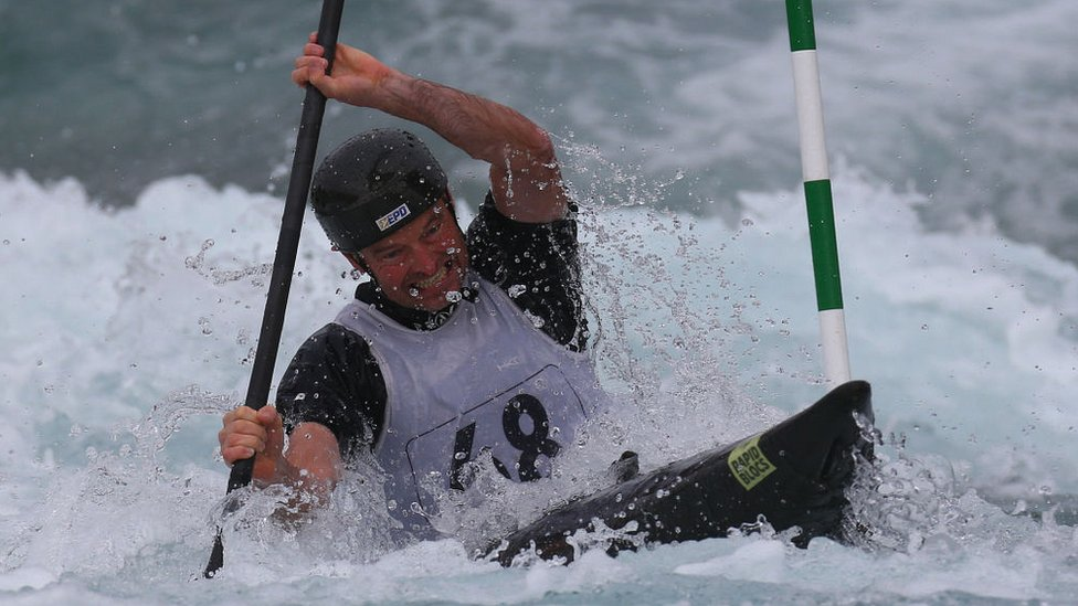 Andy Laird of Copeland CC Masters competes in Kayak (K1) Men during the British Canoeing 2017 British Open Slalom Championships at Lee Valley White Water Centre on September 16, 2017 in London