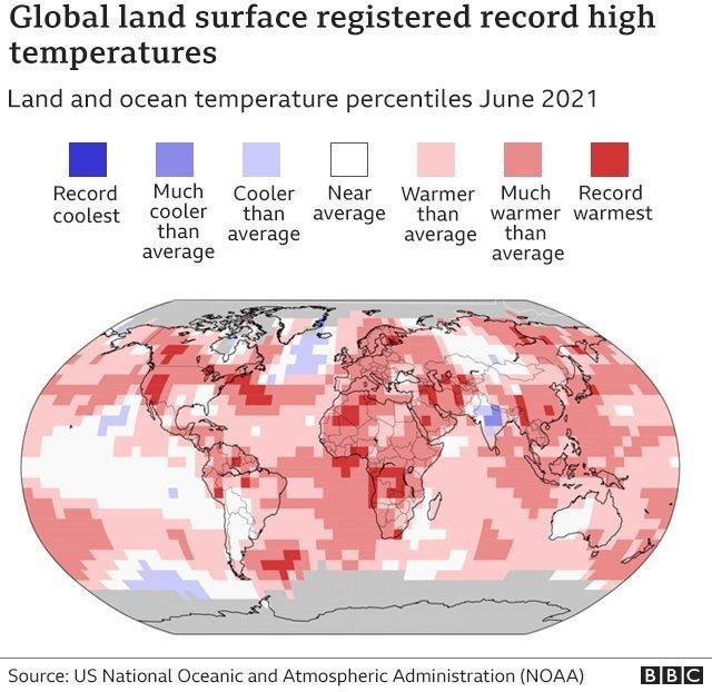 Grafik yang menunjukkan rekor suhu di seluruh dunia