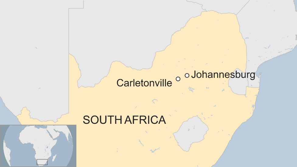 A map showing Carletonville in South Africa