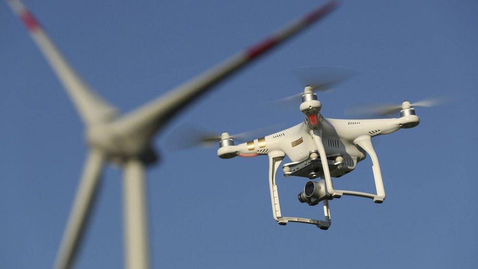 Drone near windmill
