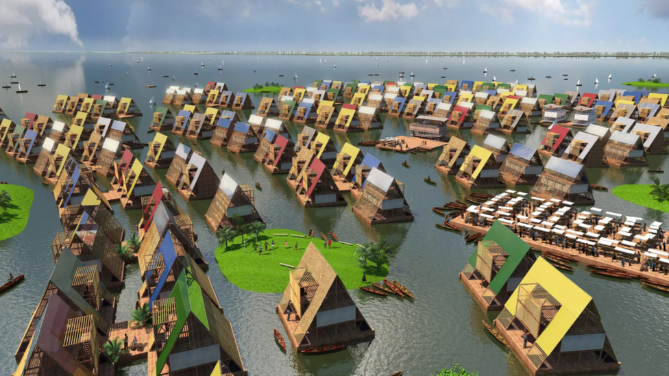 Representación artística de comunidades costeras basadas en arquitectura flotante.