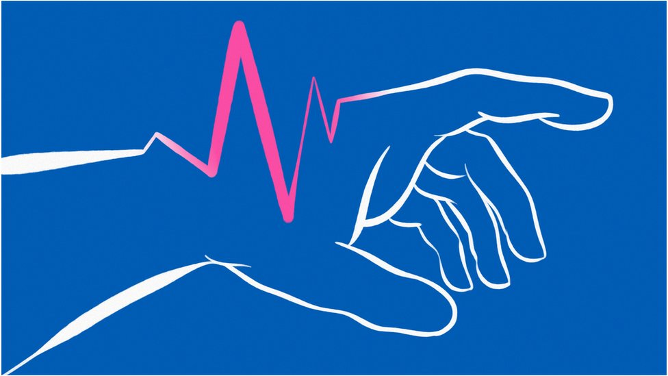 Abstract illustration of a hand with a pulse.