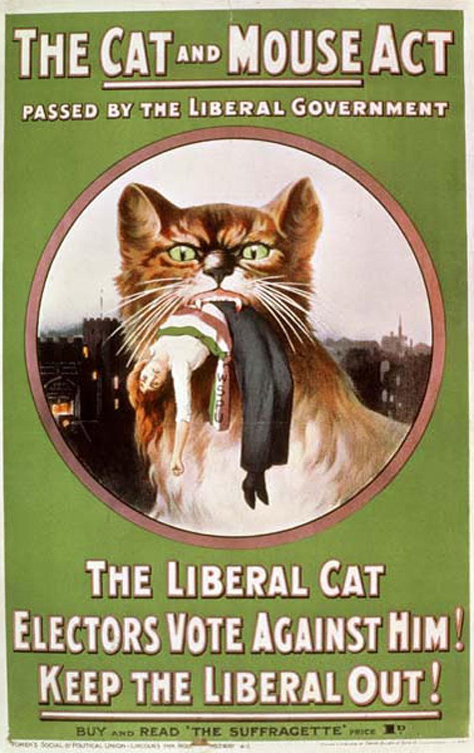 Panfleto de la WSPU denunciando la 'Ley del gato y el ratón'