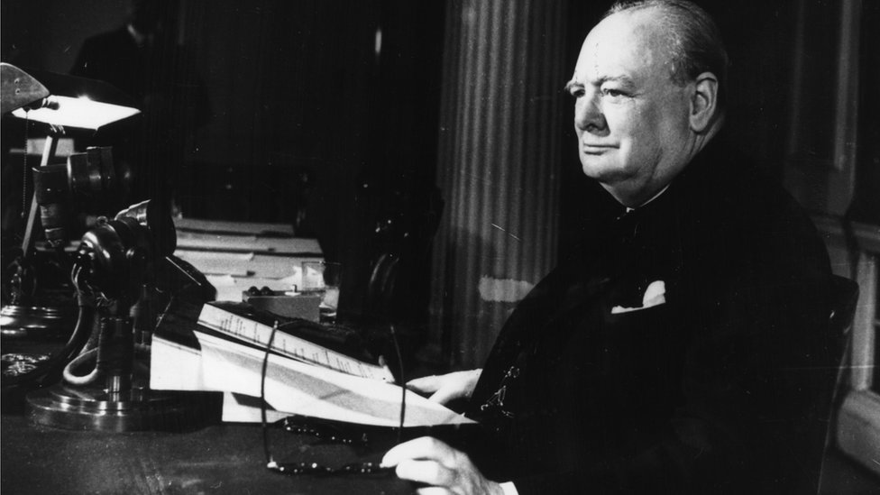 Prime Minister Winston Churchill makes his VE Day broadcast in May 1945