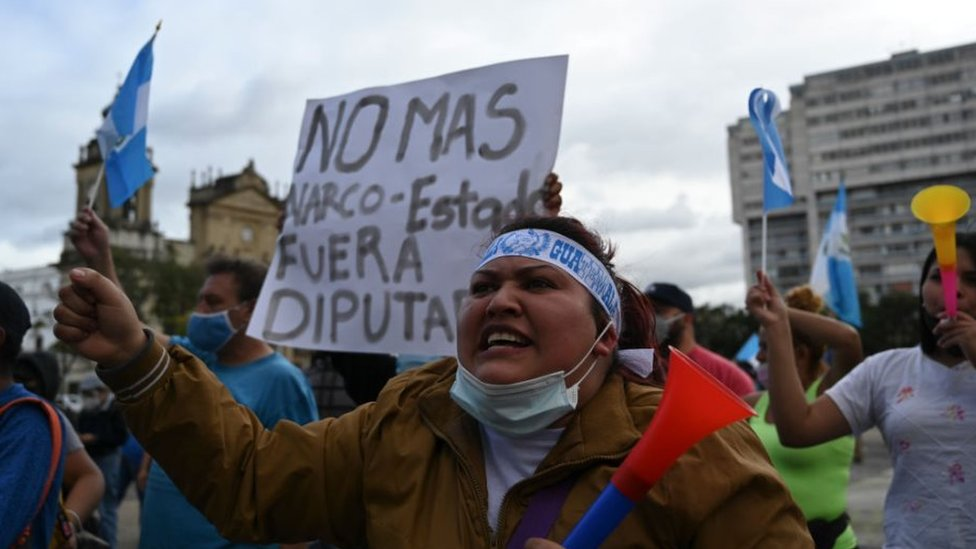 Manifestante en Guatemala