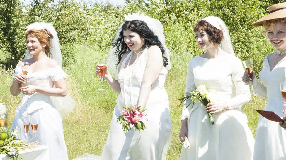 Women attend a self marriage ceremony in Canada