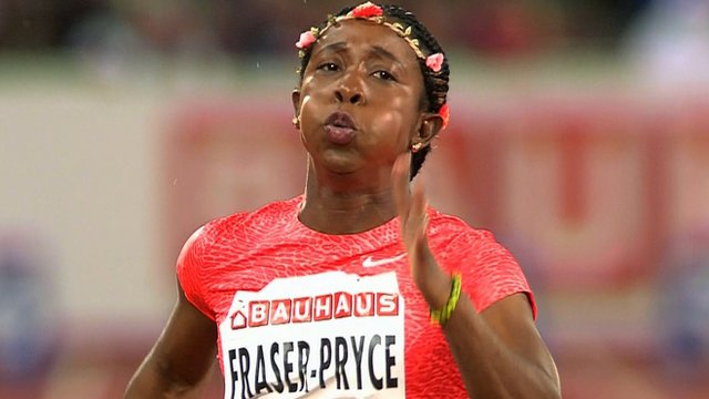 Jamaican sprinter Shelly-Ann Fraser-Pryce in action at the Stockholm Diamond League meeting
