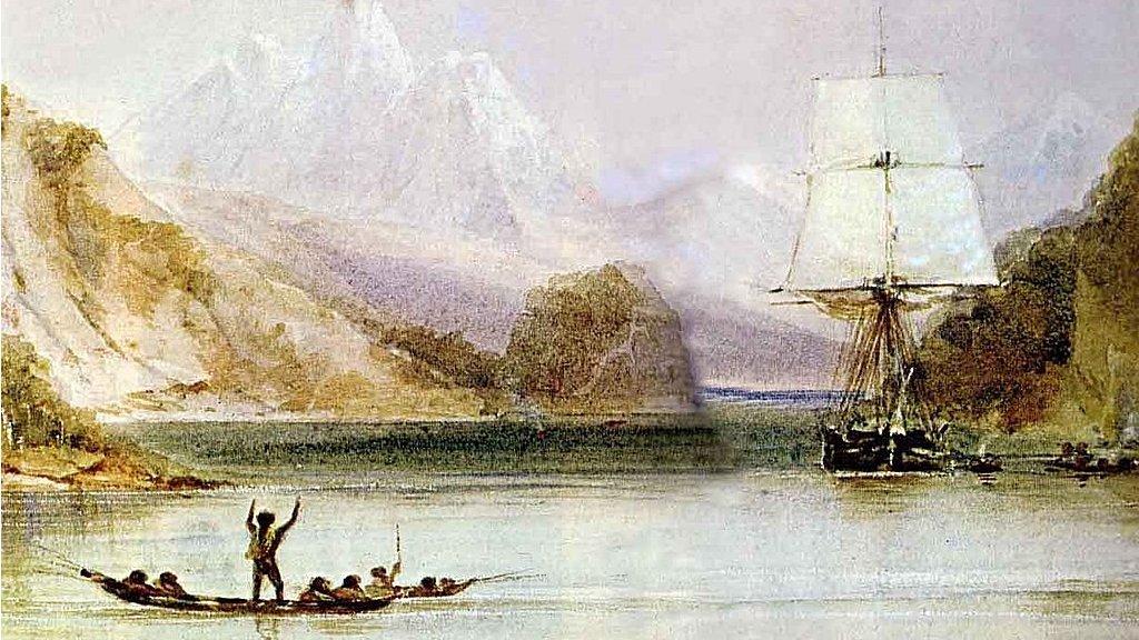 """HMS Beagle en Tierra del Fuego, pintado por Conrad Martens durante el viaje (1831-1836), de """"El origen ilustrado de las especies"""" de Charles Darwin."""