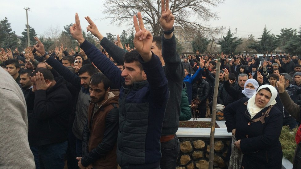Crowd at a Kurdish funeral in south-east Turkey