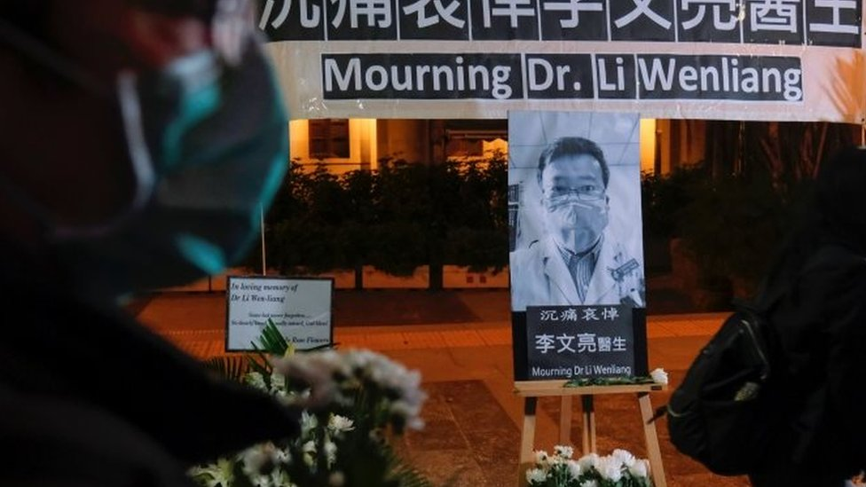 A vigil for the Chinese whistleblowing doctor Li Wenliang