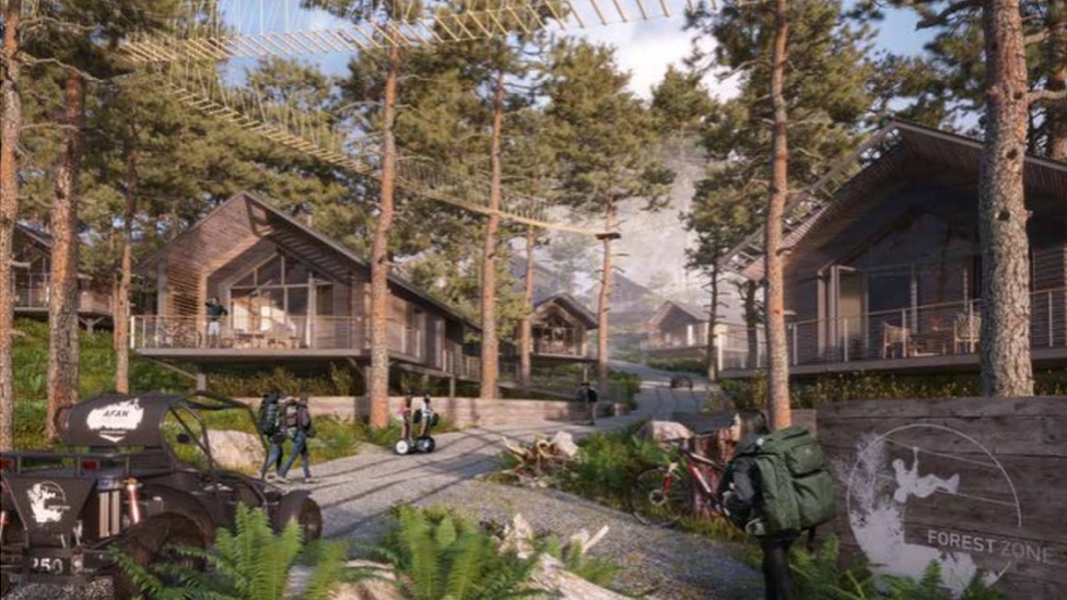 Artist impression of the proposed Afan Valley Adventure resort