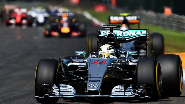 Lewis Hamilton leads the field at the Belgian Grand Prix