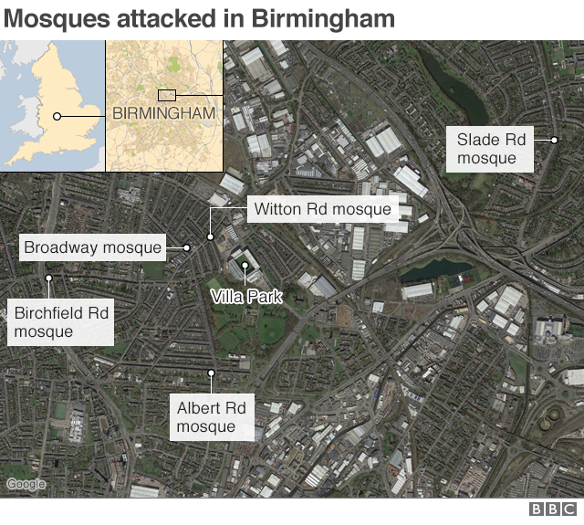 A map showing the locations of the mosque attacks