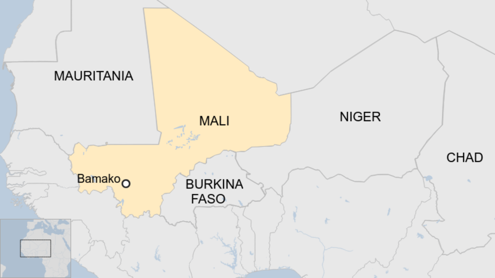 Map of the Sahel countries: Mauritania, Mali, Niger, Burkina Faso and Chad