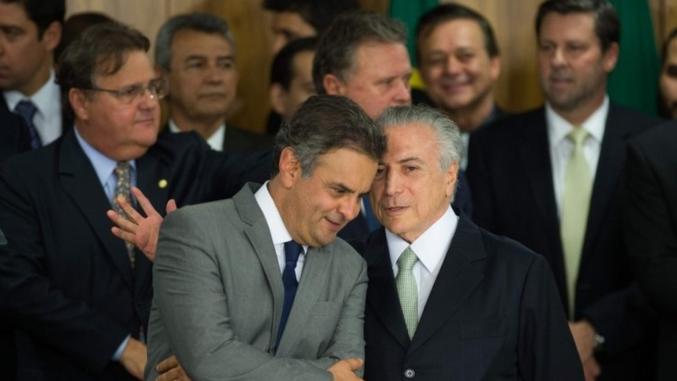 Interim President Michel Temer (front right)