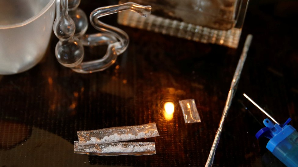 Sachets of shabu, or methamphetamine (middle-lower part), is pictured among other drugs paraphernalia at an undisclosed drug den in Manila, Philippines June 20, 2016