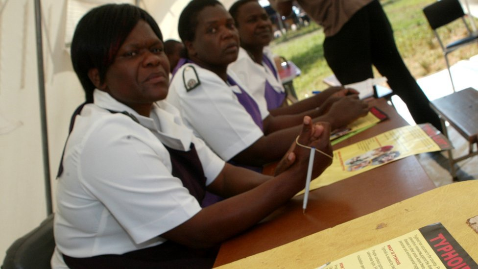 Nurses in Zimbabwe (file image)