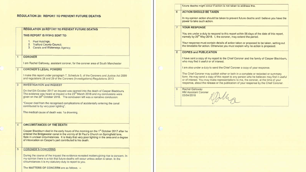 Regulation 28 report issued following the inquest into the death of Caspar Blackburn