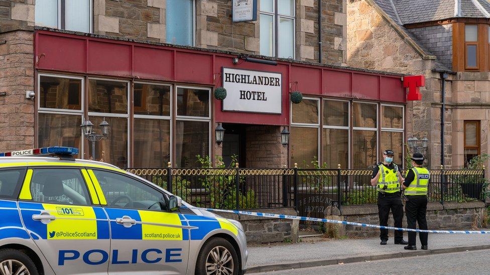 Police at Highlander Hotel