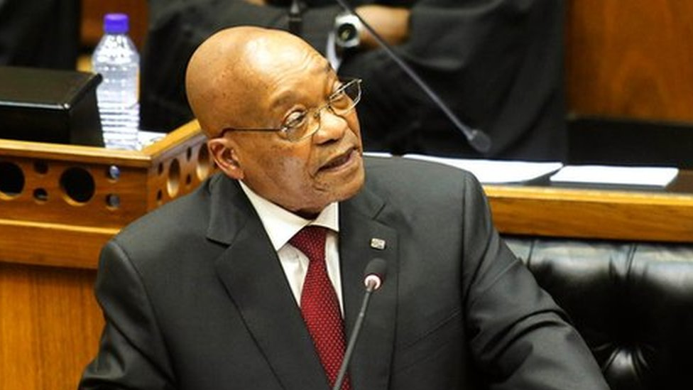 South African President Jacob Zuma give his state of the nation address in Cape Town, South Africa, Thursday, Feb. 11, 2016