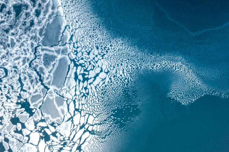 Sea ice formation in east Greenland, February 2017.