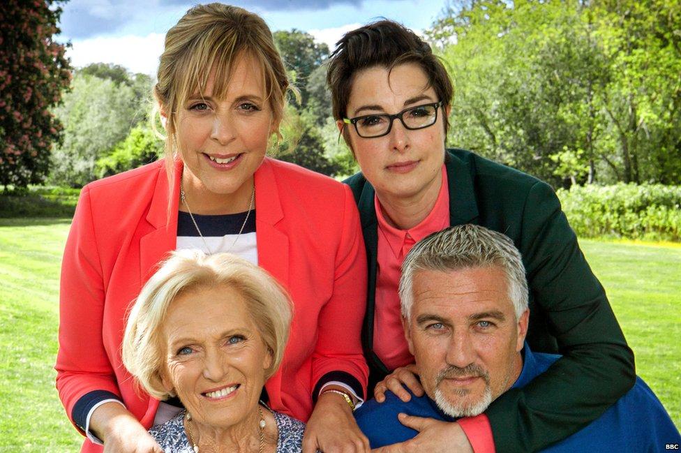 (clockwise) Mel Giedroyc, Sue Perkins, Paul Hollywood, Mary Barry
