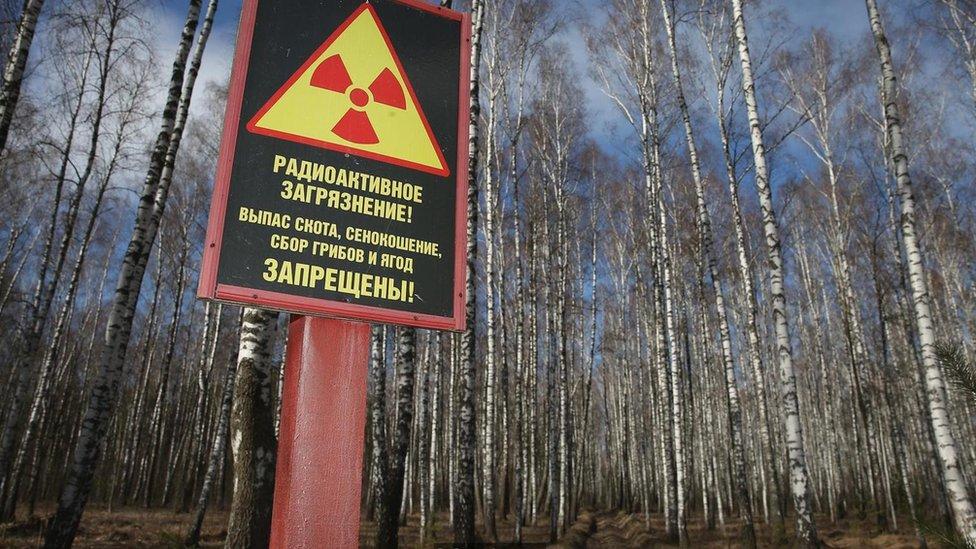 Un cartel que señala radiación en Chernóbil.