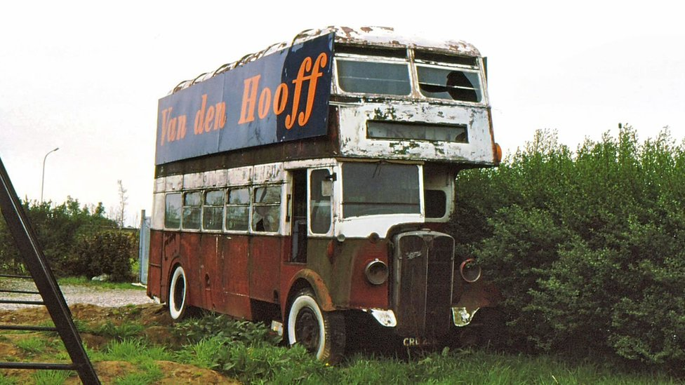 The bus in 1981 in Meer, near the town of Aalst in Belgium