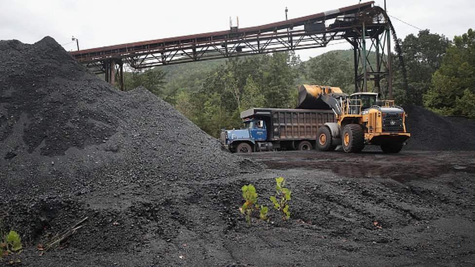 A truck is loaded with coal at a mine near Cumberland, Kentucky